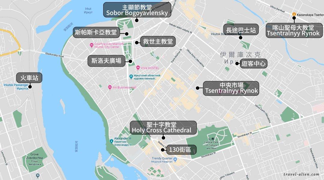 伊爾庫茨克景點地圖