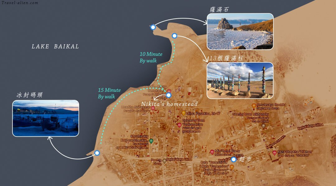 貝加爾湖胡日爾村地圖